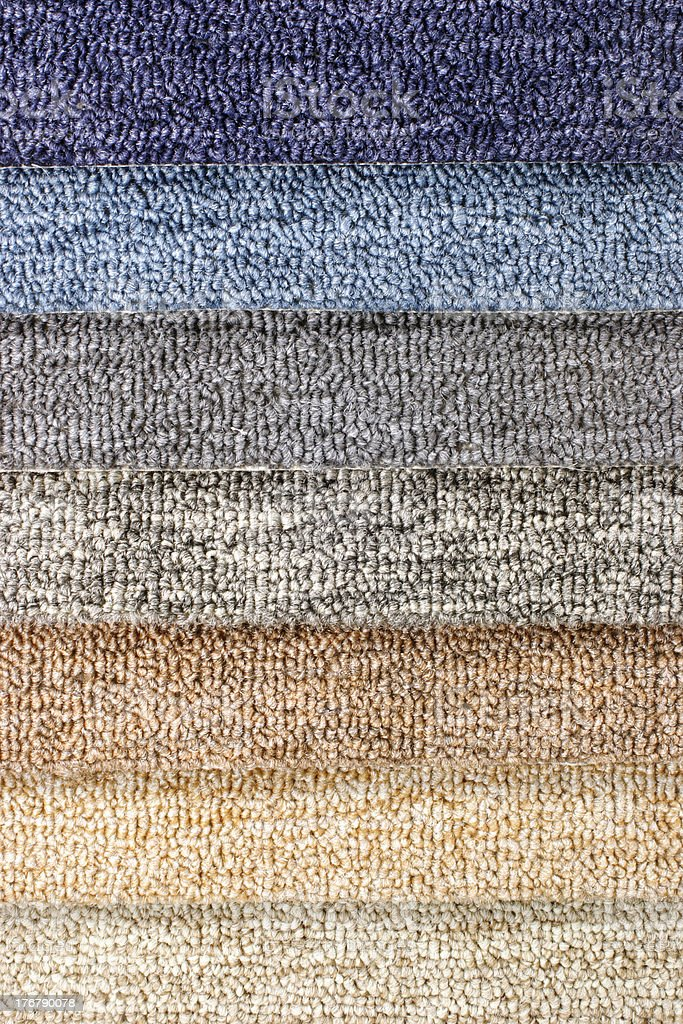 Colored carpet layers stock photo