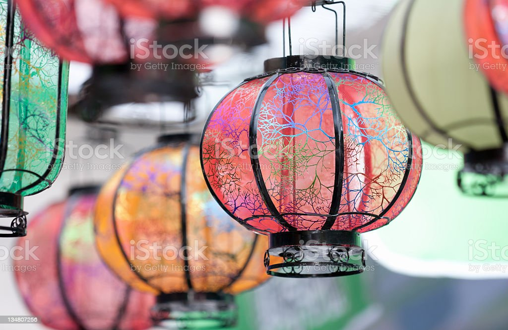 Colored Chinese lanterns royalty-free stock photo