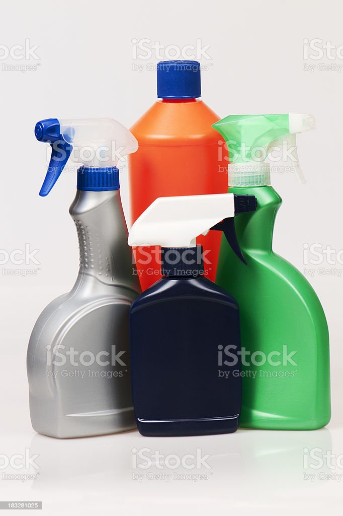 Colored cleaning products royalty-free stock photo