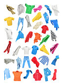 istock Colored clothes in the fall isolated on white background 898907552