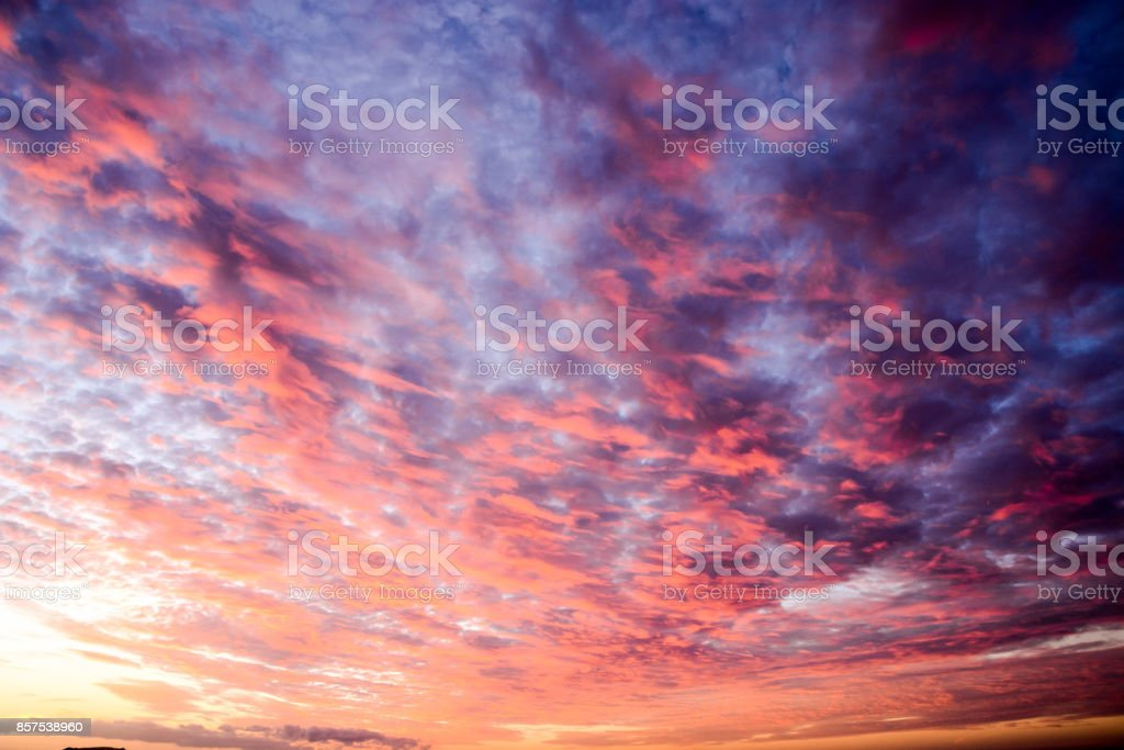 Colored Clouds at Sunset stock photo