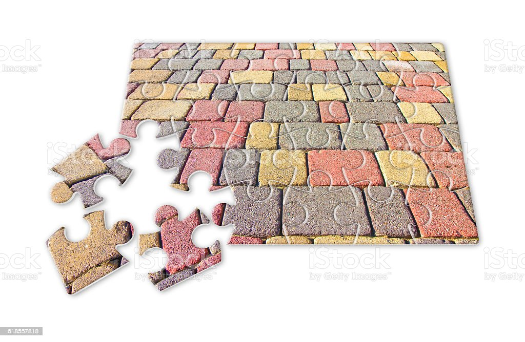 Colored concrete flooring, permeable to water stock photo