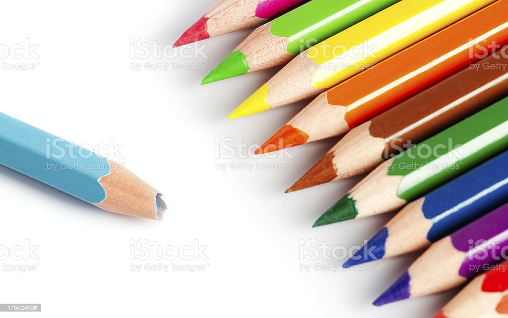Colored crayon pencils royalty-free stock photo