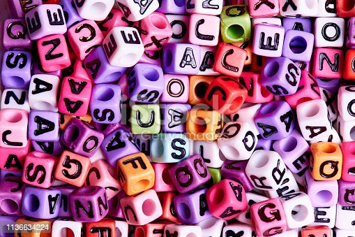 istock Colored cubes with English letters close-up. 1136634224