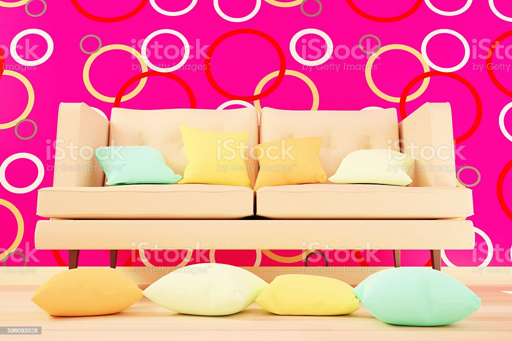 Colored cushions in the living room interior. 3d illustration Lizenzfreies stock-foto