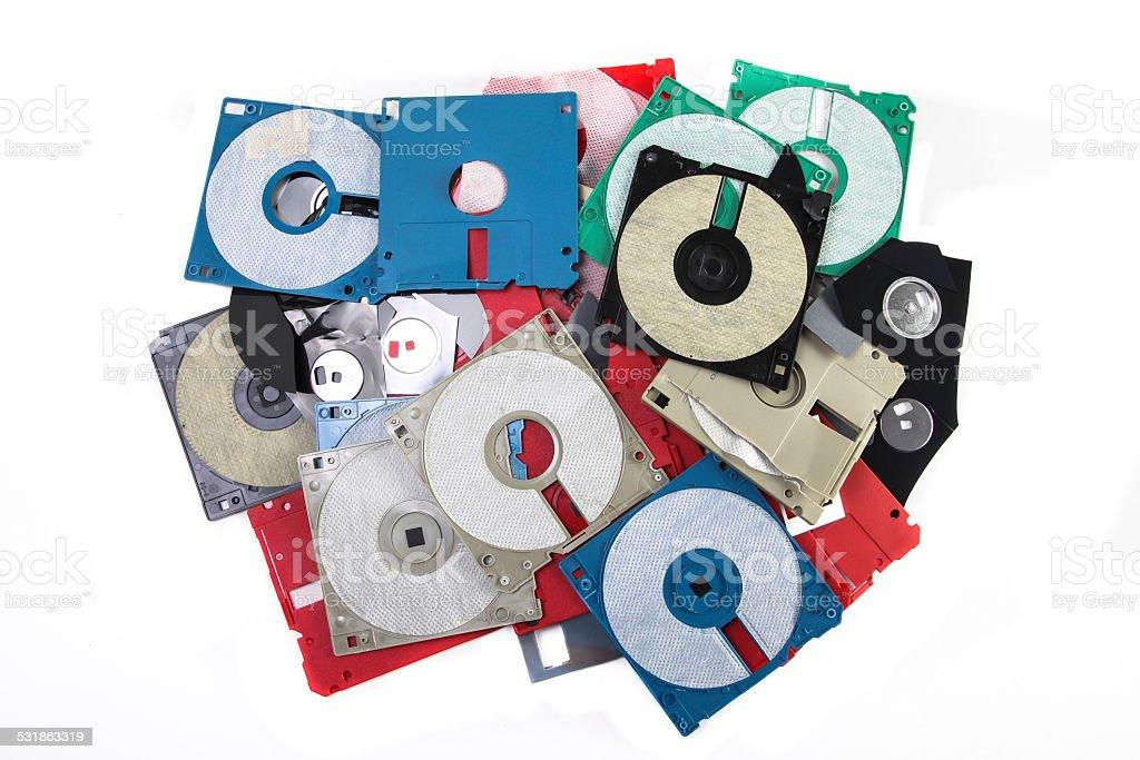 Colored damaged plastic floppy disc stock photo