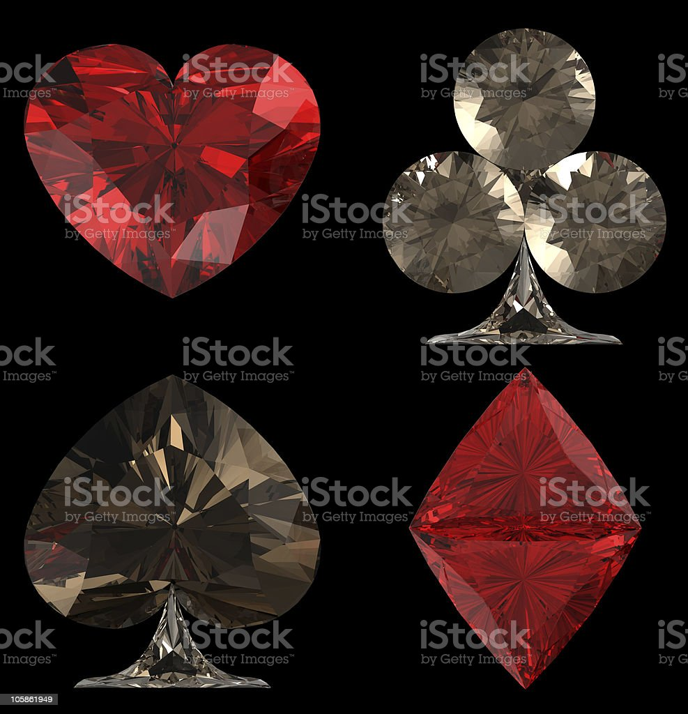 Colored Diamond shaped Card Suits royalty-free stock photo