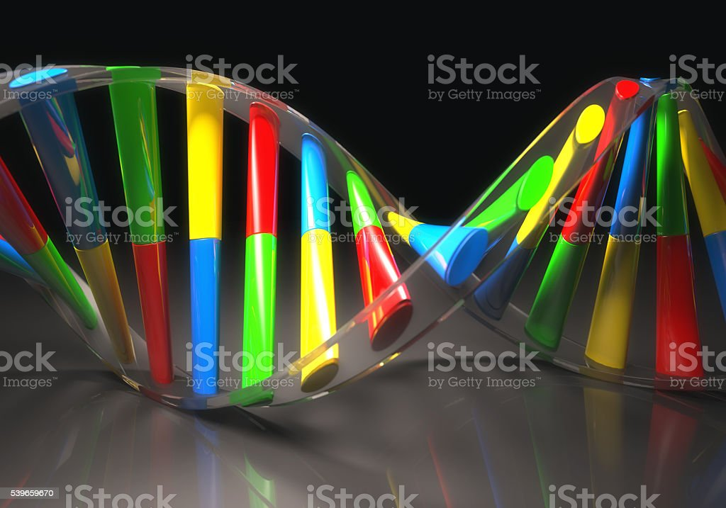 Colored DNA Molecule stock photo