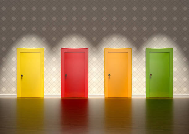 colored doors in a room representing the concept of choice 3D rendering of colored doors in a room representing the concept of choice decisions stock pictures, royalty-free photos & images
