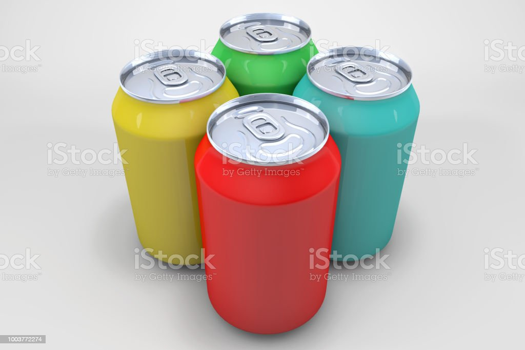 Colored Drink Cans stock photo