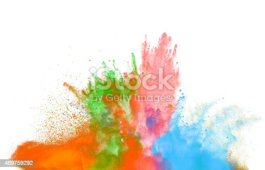 istock Colored dust explosion on white background 469759292