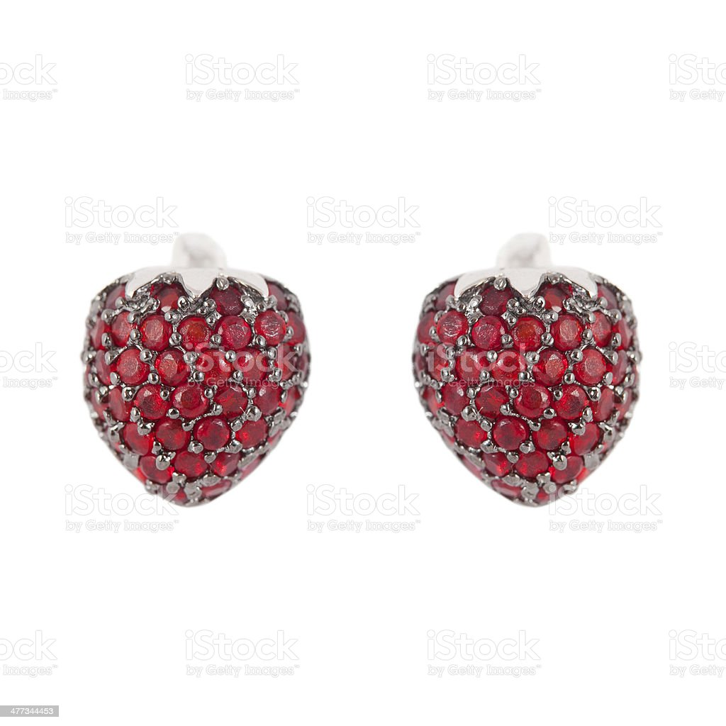 colored earrings on white royalty-free stock photo