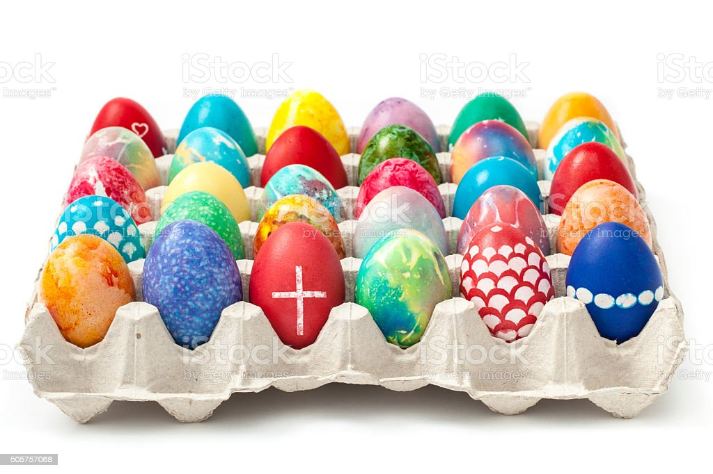 Colored Easter Eggs In A Tray Stock Photo & More Pictures of April ...