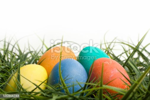 930928526 istock photo Colored Easter Eggs in Grass 120344233