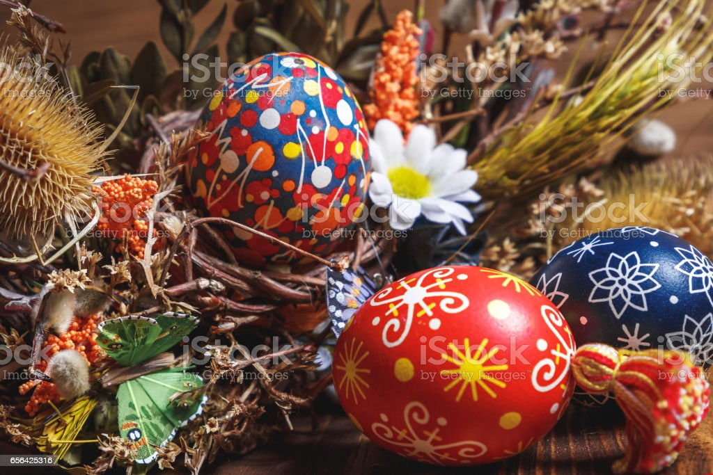 colored easter eggs on the wooden background easter themed easter