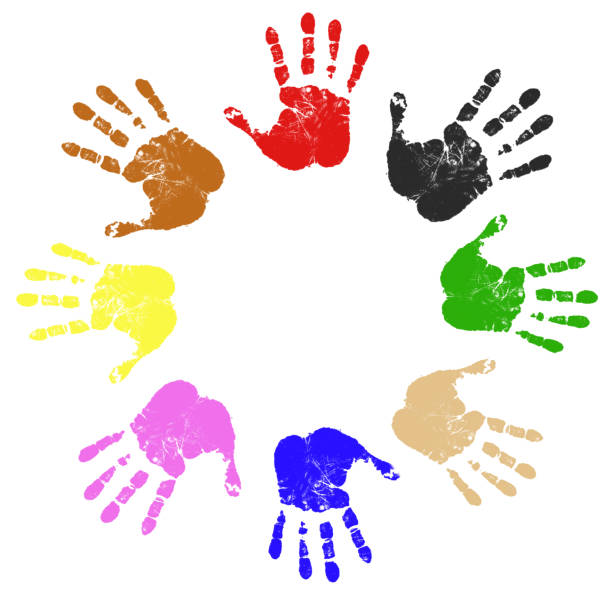 Colored eight hand prints in a circle stock photo