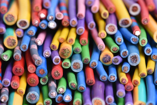 Colored electric cables stock photo