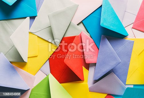 Top view colorful envelopes.