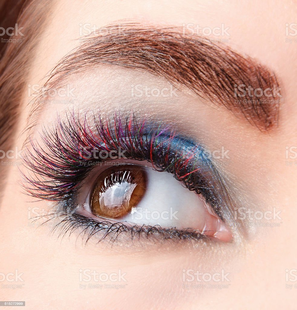 Colored eyelash extensions stock photo