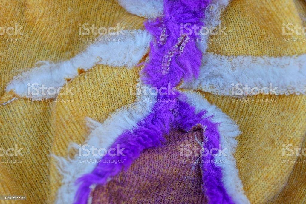 縫い目でウールの部分から色の生地テクスチャ ストックフォト