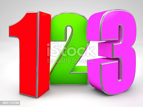 istock 123 colored figures 3d render illustration,preschool teaching 653120286
