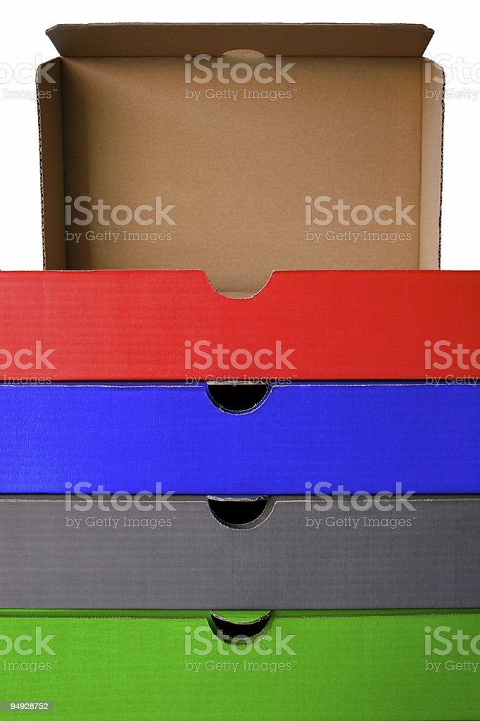 Colored filing boxes stock photo