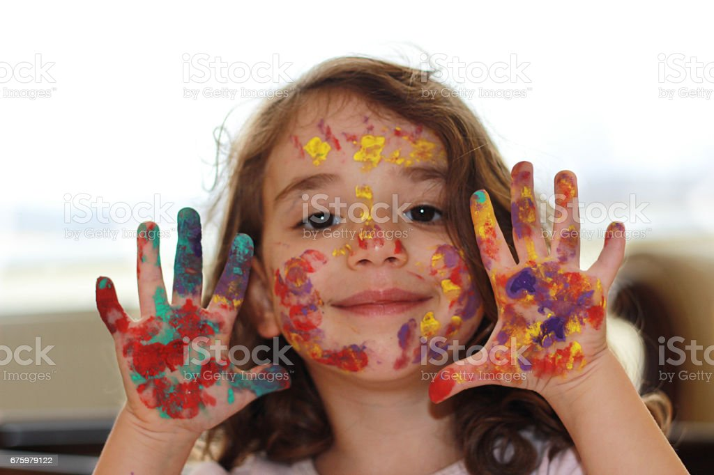 Colored fingers stock photo
