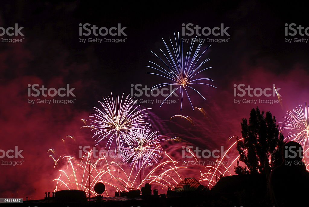 Colored Fireworks royalty-free stock photo