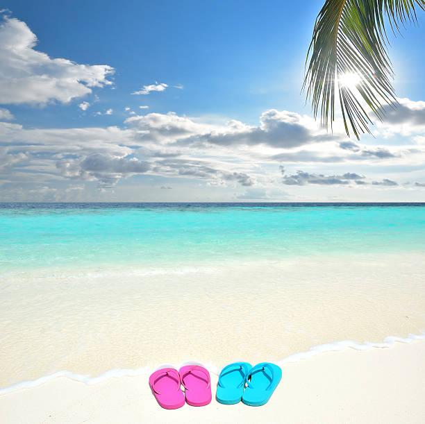 farbenfrohe flip-flops am tropischen strand - flitterwochen flip flops stock-fotos und bilder