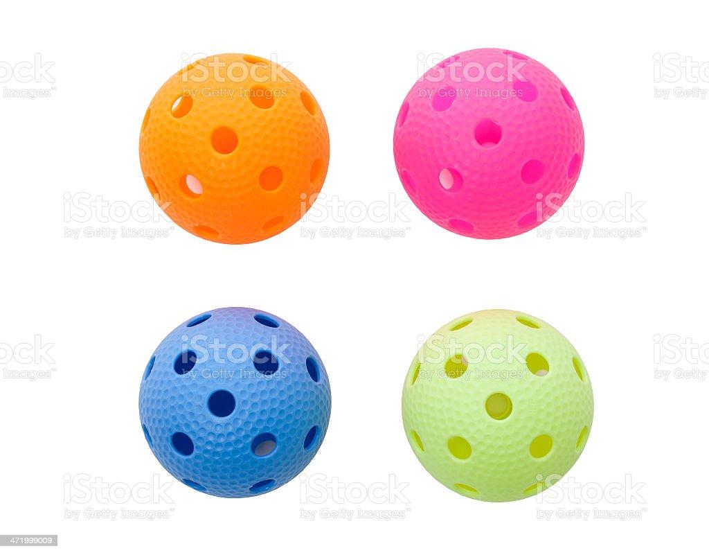 Colored floorballs stock photo