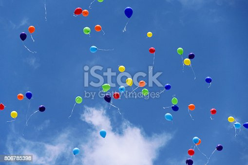 istock Colored flying balloons in the blue sky 806785398