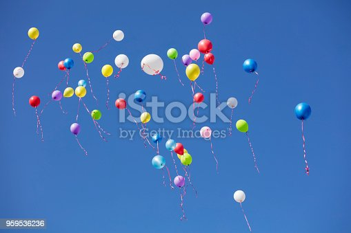 Colored flying balloons in the blue sky