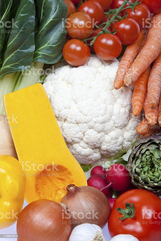 colored fruit vegetable composition isolated on white royalty-free stock photo