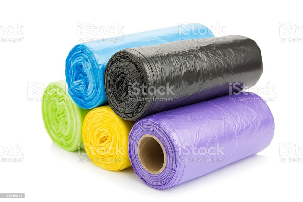 Colored garbage bags roll stock photo