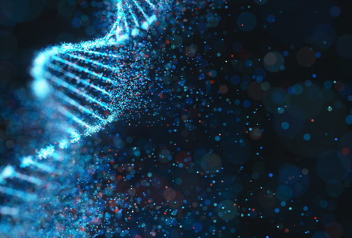 Colorful DNA molecule. Concept image of a structure of the genetic code. 3D illustration of genetic code and science.