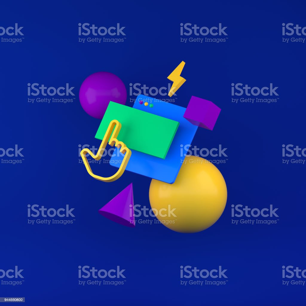 Colored geometric shapes for web design. 3d render stock photo