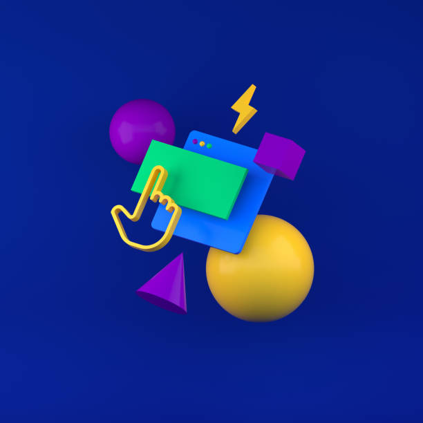 colored geometric shapes for web design. 3d render - advertising isometric stock pictures, royalty-free photos & images