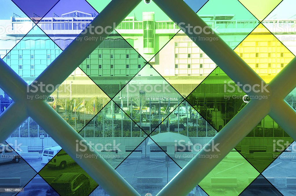 Colored glass at Miami International Airport stock photo