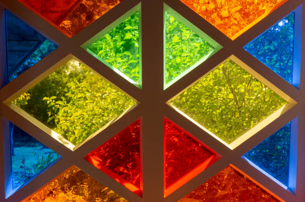 Colored glass of different colors, diamond shape stock photo