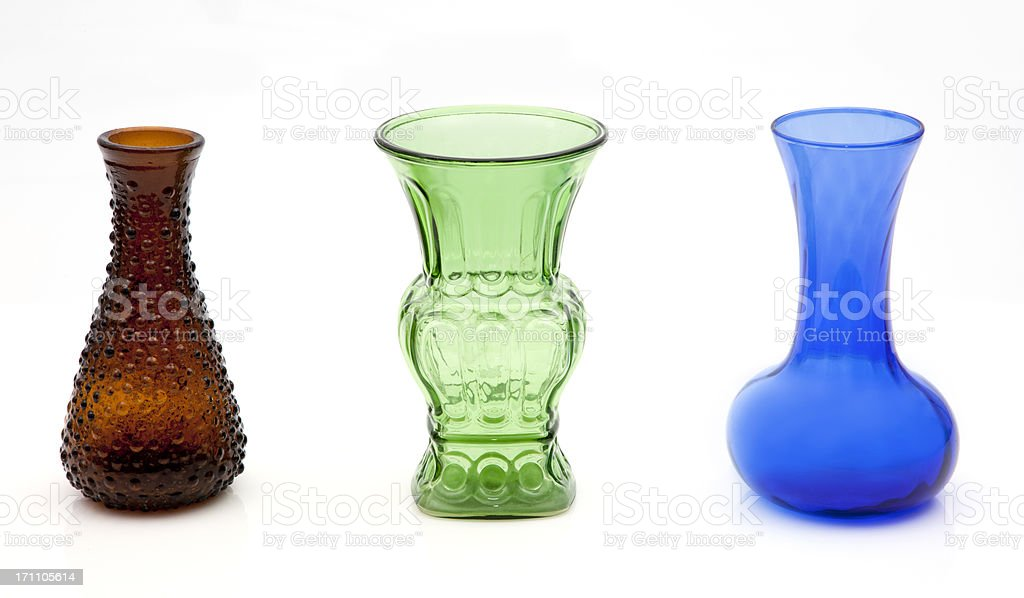 Colored Glass Vases stock photo