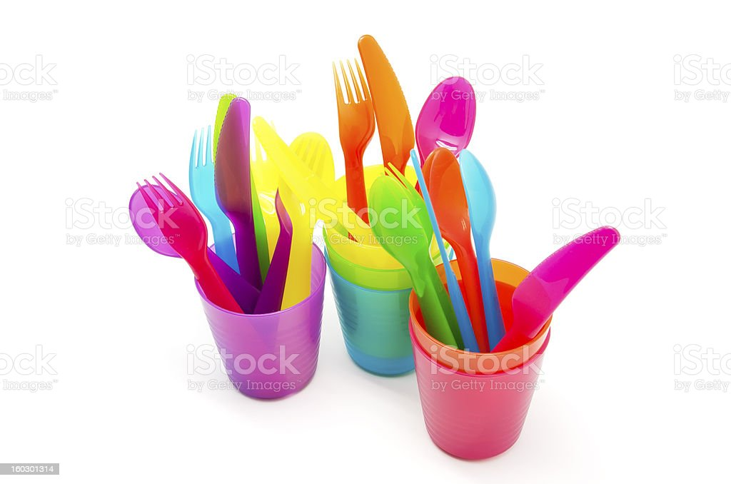 Colored glasses and cutlery royalty-free stock photo