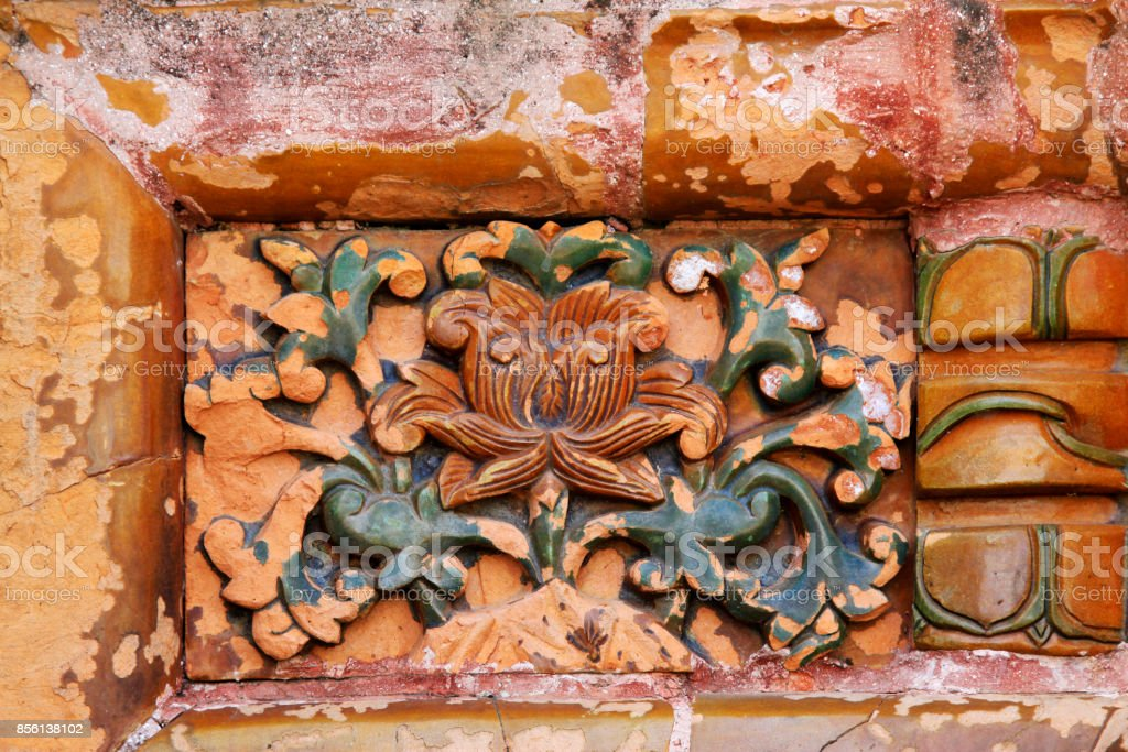 Colored glaze carving in the Eastern Tombs of the Qing Dynasty on may 18, 2014, Zunhua county, Hebei Province, China stock photo