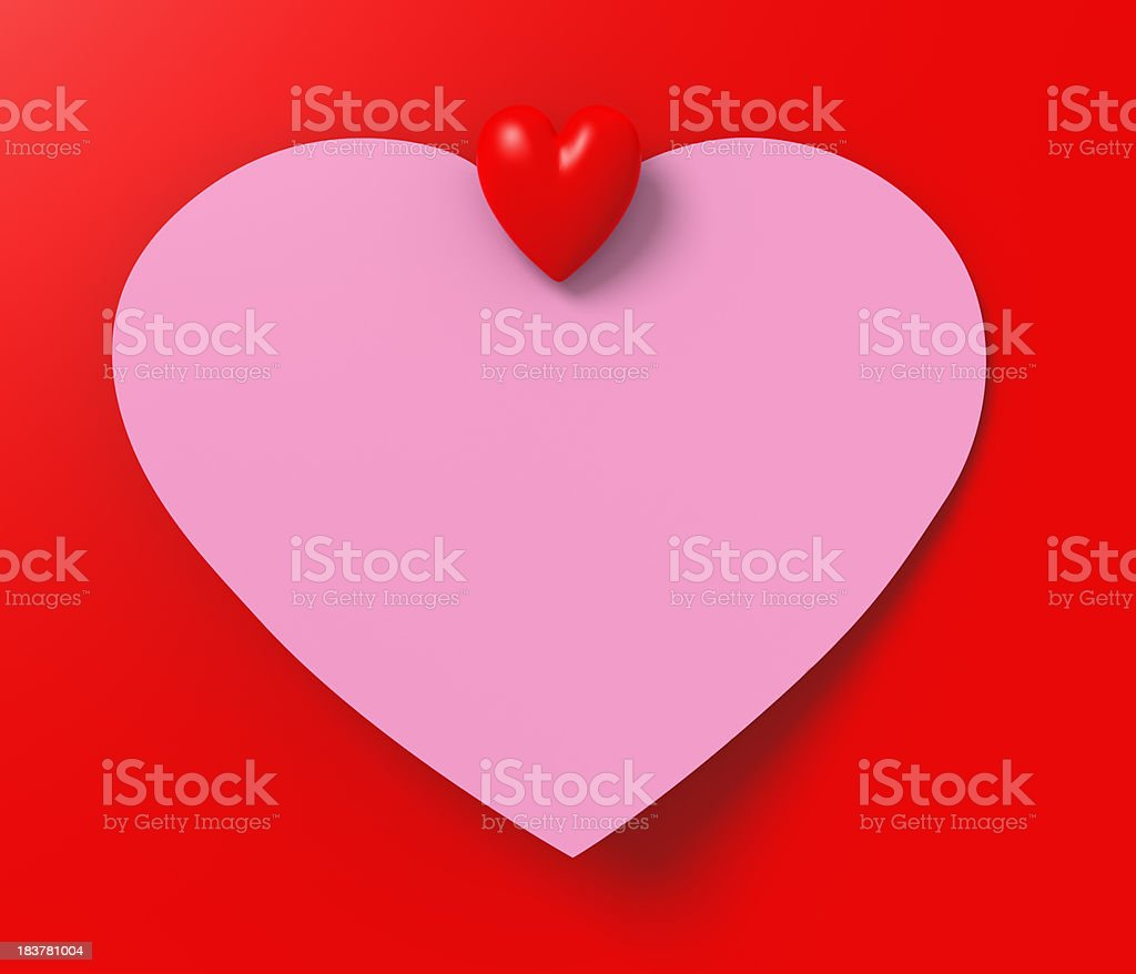 Colored Heart Shape Blank Note Paper royalty-free stock photo