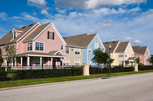 Colored homes stock photo