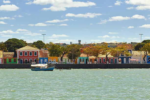 Colored houses at Porto Seguro coast stock photo