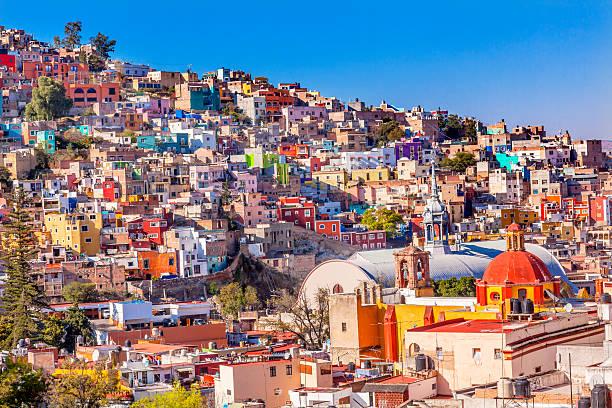 Colored Houses Iglesia de San Roque Market Guanajuato Mexico stock photo