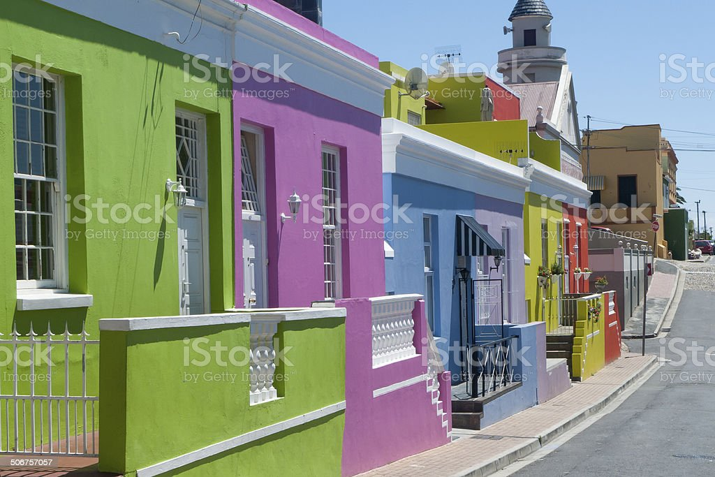 Colored houses in Bo Kaap stock photo