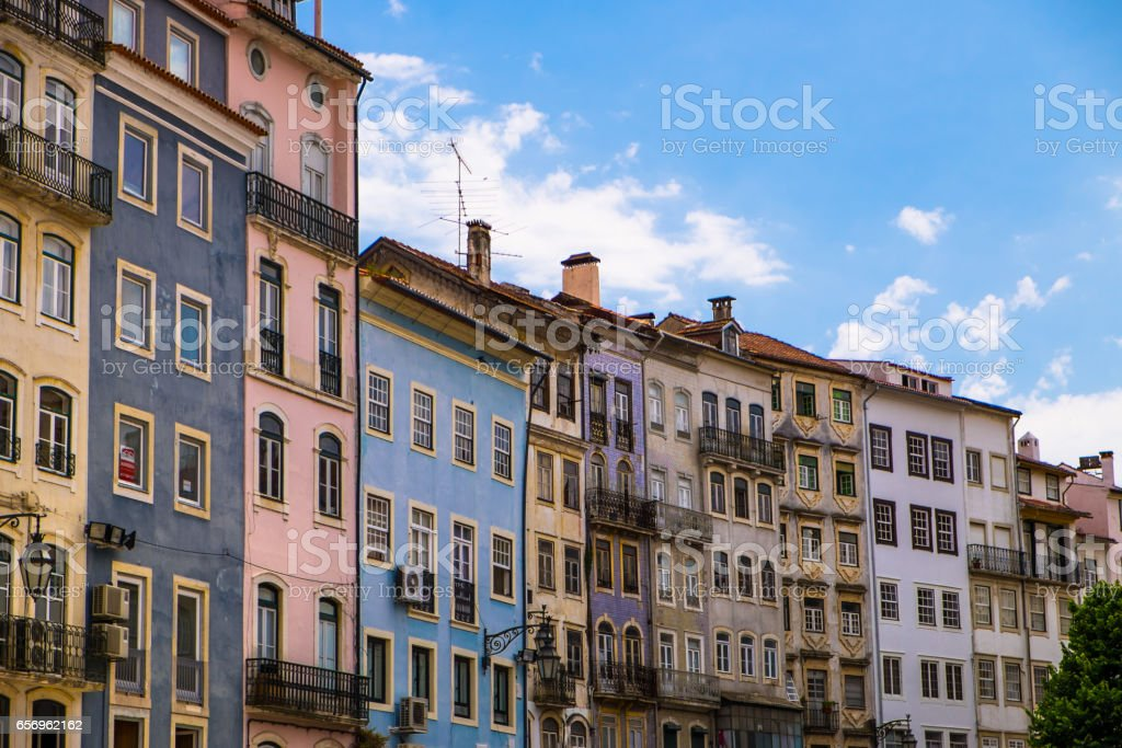 Colored Houses in Lisbon, Portugal stock photo
