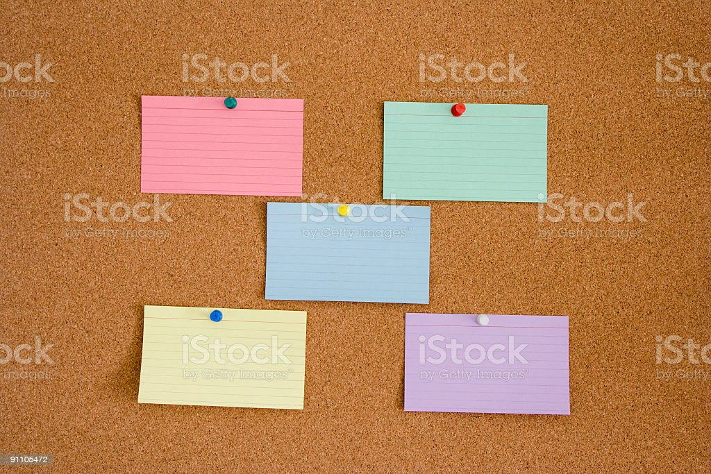 Colored Index Cards on Corkboard royalty-free stock photo