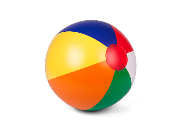 colored inflatable beach ball - beach ball stock photos and pictures